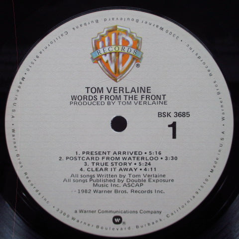 TOM VERLAINE - Words From The Front (US Orig.LP)