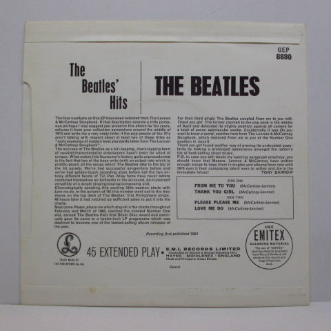 BEATLES - The Beatles' Hits (UK:80's Re EP)