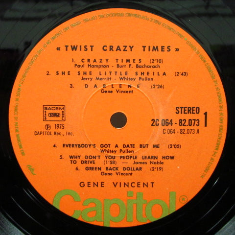 GENE VINCENT - Crazy Times! (France 70's Re Orange Lbl.Stereo LP/CS)