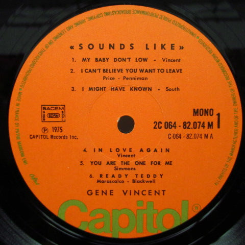 GENE VINCENT - Sounds Like (France '76 Re Mono LP)