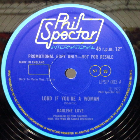 "DARLENE LOVE - Lord If You're A Woman (Promo12"")"