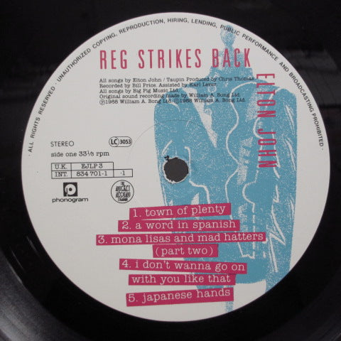 ELTON JOHN - Reg Strikes Back (UK Orig.LP/Stickered GS)