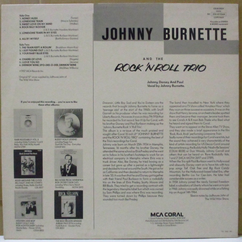 JOHNNY BURNETTE & THE R&R TRIO - Johnny Burnette & The Rock'n'Roll Trio (UK '78 Re Mono LP)