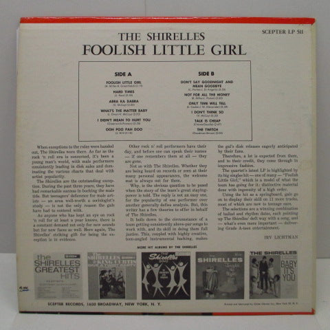 SHIRELLES - Foolish Little Girl (US Orig.Mono LP)