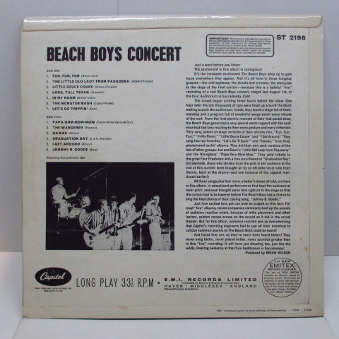 BEACH BOYS - Concert (UK 60's 2nd Press Stereo LP/CFS)