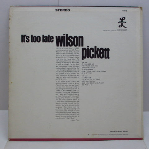 WILSON PICKETT - It's Too Late (US Orig.LP Stereo)