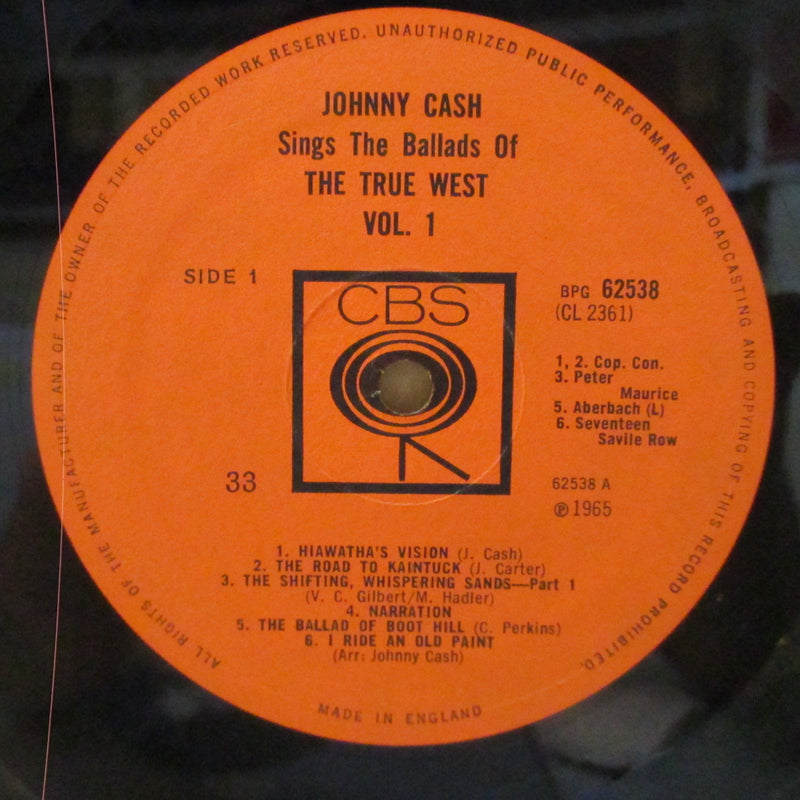 JOHNNY CASH (ジョニー・キャッシュ)  - Sings The Ballads Of The True West Vol.1 (UK Orig.Mono LP/CFS)