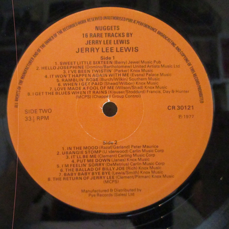 JERRY LEE LEWIS (ジェリー・リー・ルイス)  - Nugget : 16 Rare Tracks (UK Orig.Mono LP/CS)