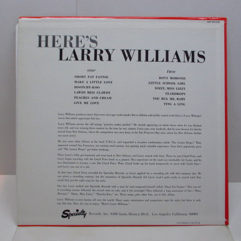 LARRY WILLIAMS - Here's Larry Williams (US 80's Re LP/No Barcord)