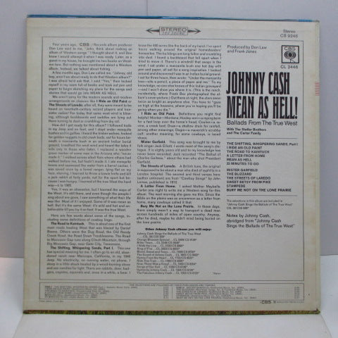 JOHNNY CASH - Mean As Hell / Sings The Ballads Of The True West (US 60's CBS Export Stereo LP)