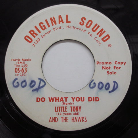 LITTLE TONY & THE HAWKS - Do What You Did / Cry Cry Cry (Promo)