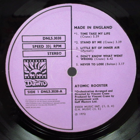 ATOMIC ROOSTER - Made In England (UK Orig.Dark Red Vinyl LP/Blue Denim CVR)
