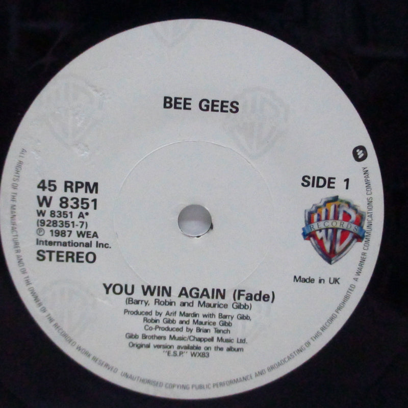 "BEE GEES - You Win Again (UK Orig.Paper Lbl.7""+PS)"
