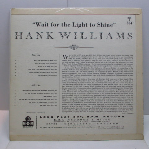 HANK WILLIAMS - Wait For The Light To Shine (UK Orig.Mono LP/CFS)