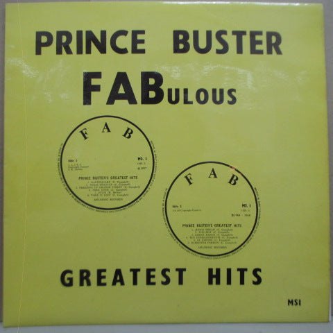 PRINCE BUSTER - Fabulous Greatest Hits (UK 70's Re Turquoise Lbl.LP/Yellow CS)