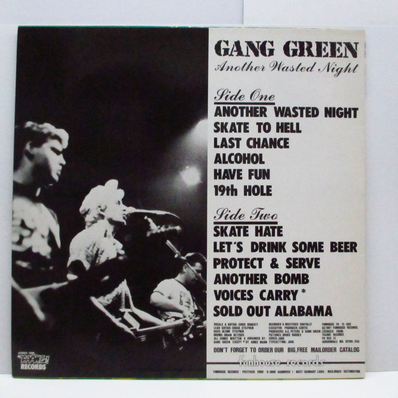 GANG GREEN - Another Wasted Night (German Re LP/Green & Yellow CVR)