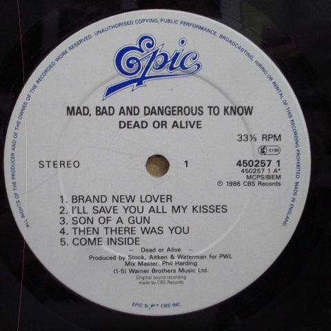 DEAD OR ALIVE-Mad, Bad And Dangerous To Know (UK Orig.LP / GS)