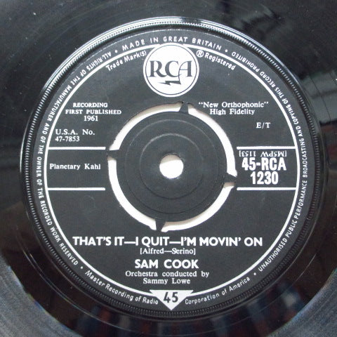 SAM COOKE - That's It-I Quit-I'm Movin' On (UK Orig)