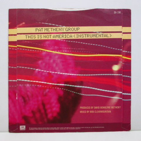 "DAVID BOWIE / PAT METHENY GROUP - This Is Not America (UK 80's Silver Plastic Lbl.7""+PS)"