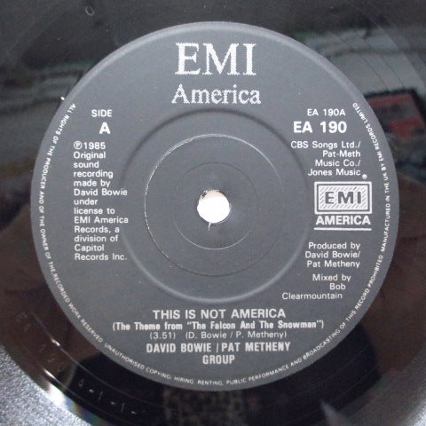 "DAVID BOWIE / PAT METHENY GROUP - This Is Not America (UK Orig.Black Lbl.7""+PS)"