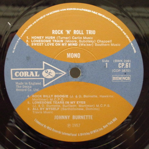 JOHNNY BURNETTE & THE R&R TRIO - Johnny Burnette & The Rock'n'Roll Trio (UK'70年Re)