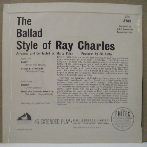 RAY CHARLES - The Ballad Style Of Ray Charles (UK Orig.EP/CFS)