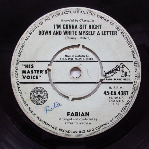 FABIAN - I'm Gonna Sit Right Down and Write Myself a Letter (OZ Orig+PS)