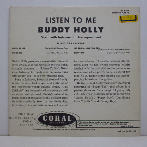 BUDDY HOLLY - Listen To Me (US Orig.EP/EC-81169)