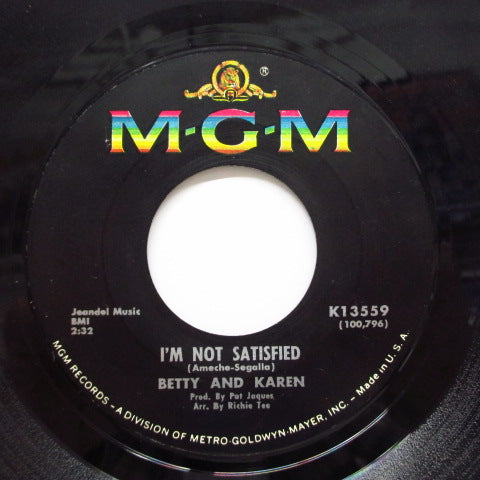 BETTY AND KAREN - I'm Not Satisfied / Stop And Listen