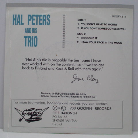 "HAL PETERS AND HIS TRIO - You Don't Have To Worry +3 (Finland Orig.7""+PS)"