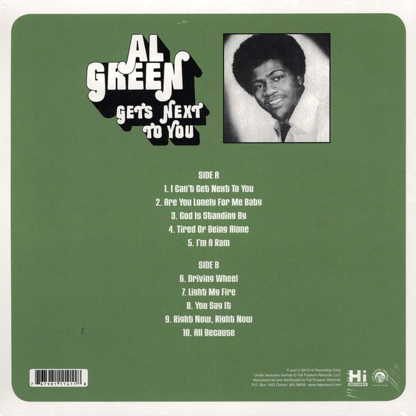 AL GREEN (アル・グリーン)  - Get's Next To You (US Ltd.Reissue LP/New)