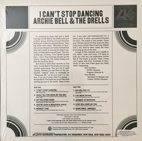 ARCHIE BELL & THE DRELLS (アーチー・ベル&ザ・ドレルズ)  - I Can't Stop Dancing (US Ltd. Reissue LP/New)