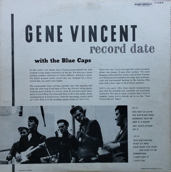 GENE VINCENT & HIS BLUE CAPS (ジーン・ヴィンセント)  - Record Date (US Ltd.Reissue LP/New)