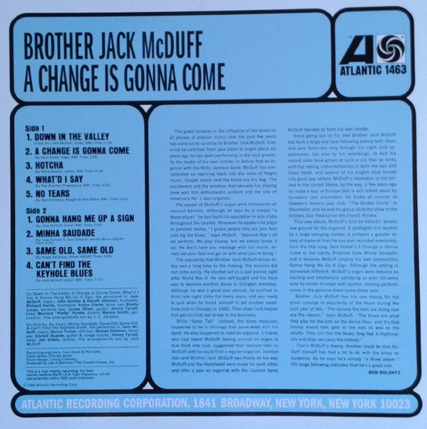 BROTHER JACK McDUFF ((ブラザー)ジャック・マクダフ)  - A Change Is Gonna Come (US Ltd.Reissue LP/New)