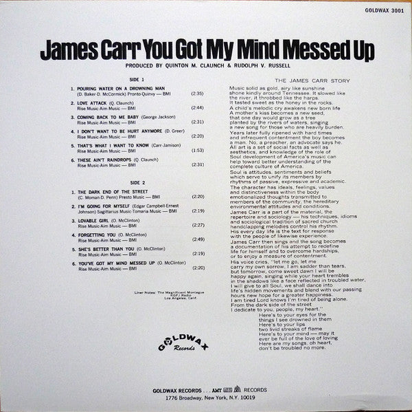JAMES CARR (ジェイムス・カー)  - You Got My Mind Messed Up (US Ltd.Reissue LP/New)