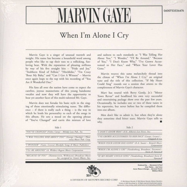 MARVIN GAYE (マーヴィン・ゲイ)  - When I'm Alone I Cry (EU Ltd.Reissue 180g LP/New)