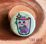 Holographic Boba Tea Button