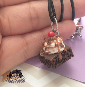 Brownie Sundae with Sprinkles or Chocolate Chunks Necklace