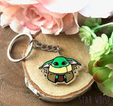Green Alien Space Baby Keychain