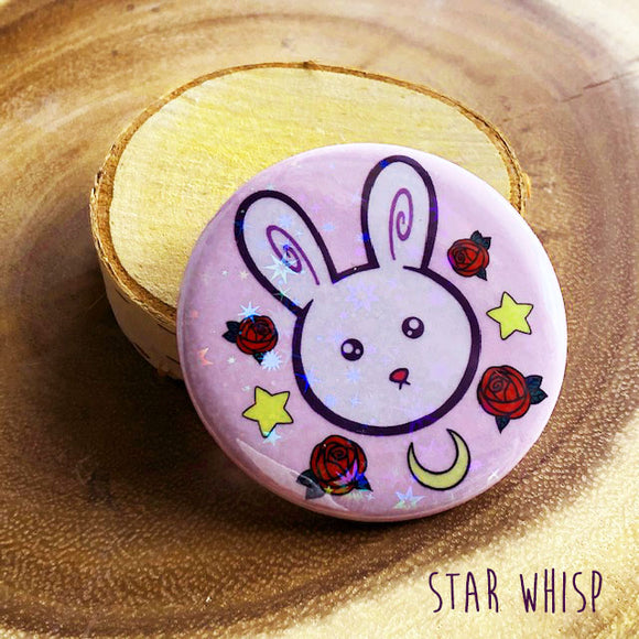 Magical Girl Bunny Holographic Button