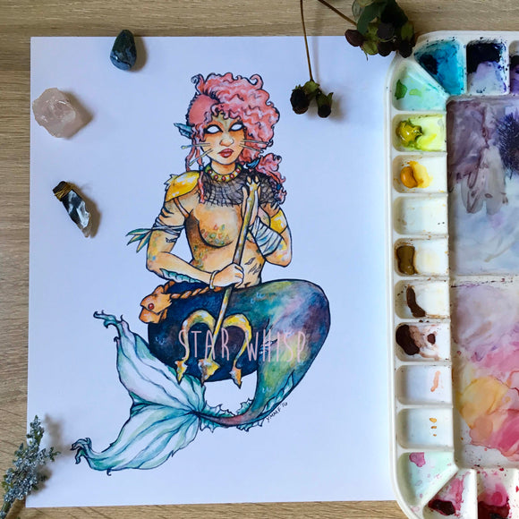 Warrior Merbabe Mermaid 8 x 10 Art Print