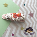 Strawberry Slices and Cream Fabric Hair Clip, Hair Bow