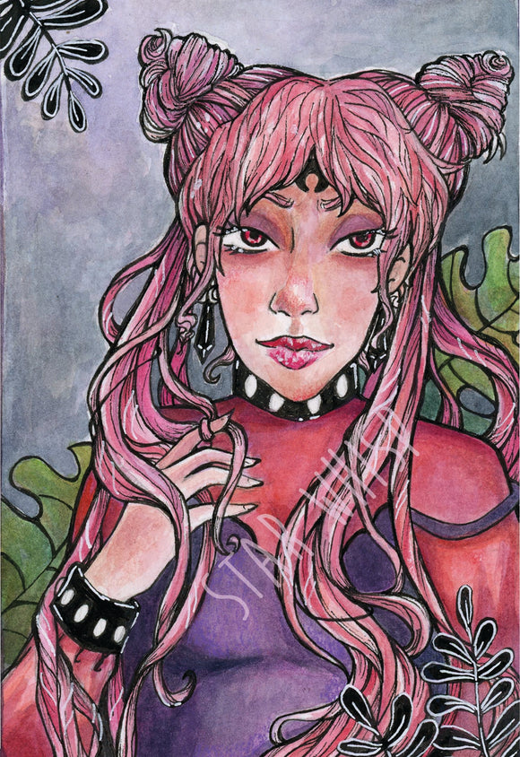 Wicked Moon Lady 5 x 7 Art Print