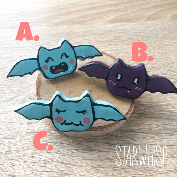 Cute Bat Pin, Handmade Bat Pin, Handmade Clay Pin