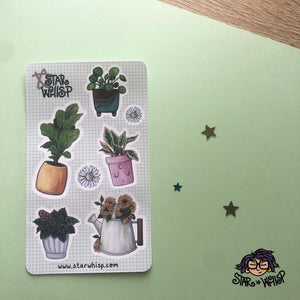 Houseplant Harmony Sticker Sheet, Planner Stickers, Journal Stickers