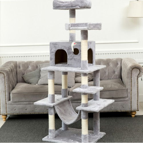 "63.8""Multi-Level Cat Tree with Sisal-Covered Scratcher Slope, Scratching Posts, Plush Perches and Condo, Activity Center Furniture - for Kittens, Cats and Pets - Paws & Play"