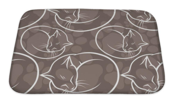 Bath Mat, Pattern With Cats - Paws & Play
