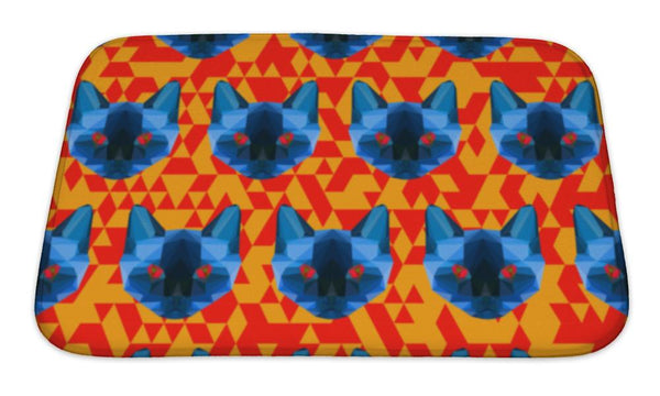 Bath Mat, Bright Blue Colored Abstract Triangle Polygonal Siamese Cat Pattern - Paws & Play