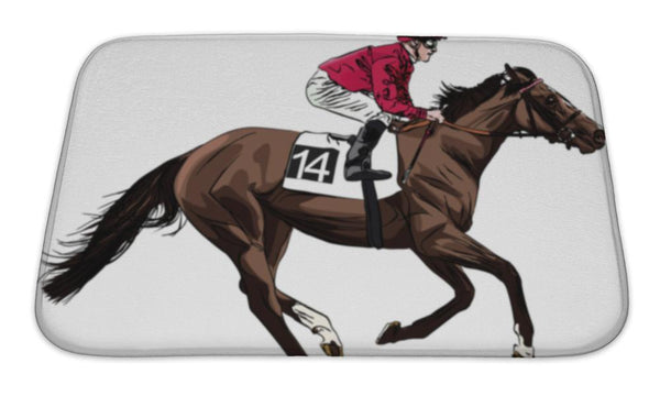 Bath Mat, Illustration Of A Racing Horse And Jockey - Paws & Play