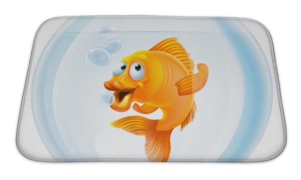 Bath Mat, Cartoon Goldfish In Bowl - Paws & Play